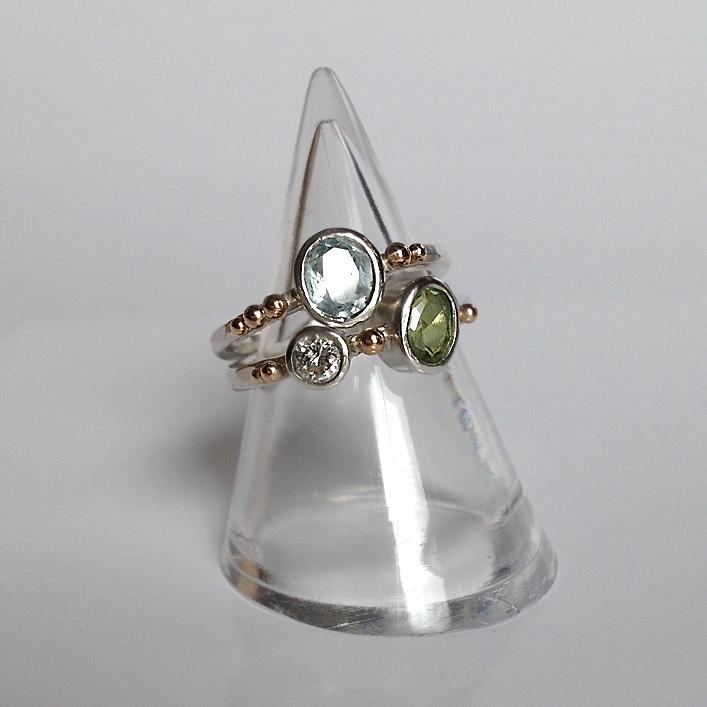 HJ_BESPOKE_ Aauamarine, Peridot and Diamond Ring1
