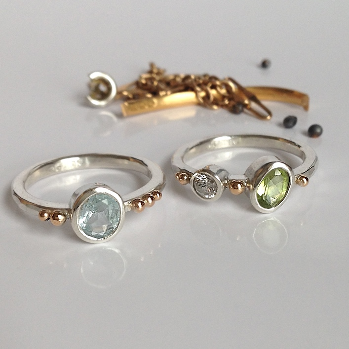 HJ_BESPOKE_ Aauamarine, Peridot and Diamond Ring3