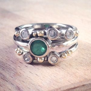 HJ_BESPOKE_Emerald, Diamond and Gold Wedding and Engagement Rings