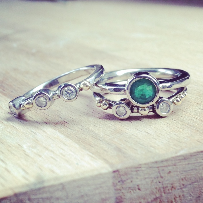 HJ_BESPOKE_Emerald, Diamond and Gold Wedding and Engagement Rings2