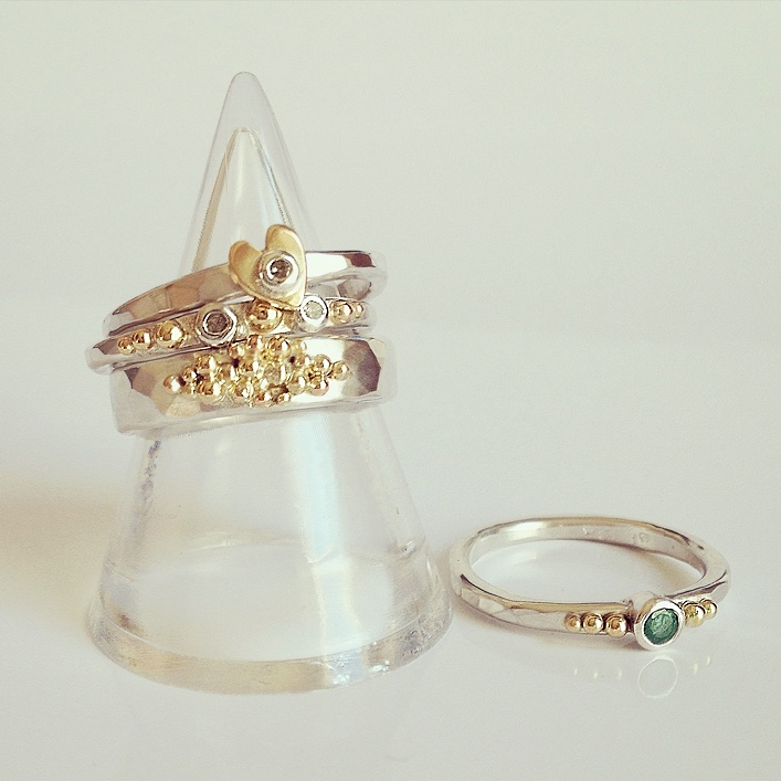 HJ_BESPOKE_Emerald, Diamond and Heart rings