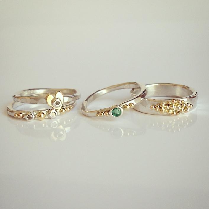 HJ_BESPOKE_Emerald, Diamond and Heart rings2