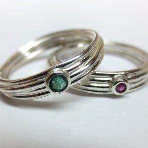 HJ_BESPOKE_Emerals and Ruby Strand rings