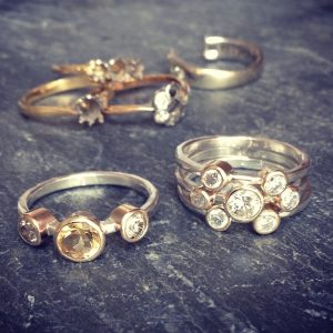 HJ_BESPOKE_Gold, Diamond and Citrine Stacking Rings1
