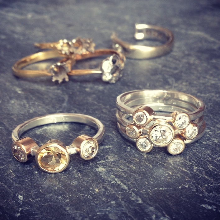 HJ_BESPOKE_Gold, Diamond and Citrine Stacking Rings1