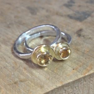 HJ_BESPOKE_Gold Pod Rings with Citrine
