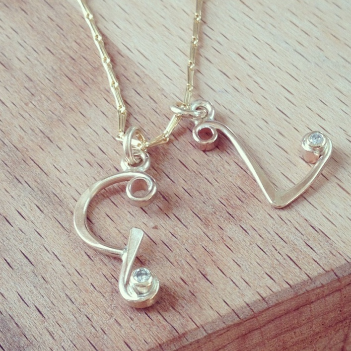 HJ_BESPOKE_Gold and Diamond Initial Pendants
