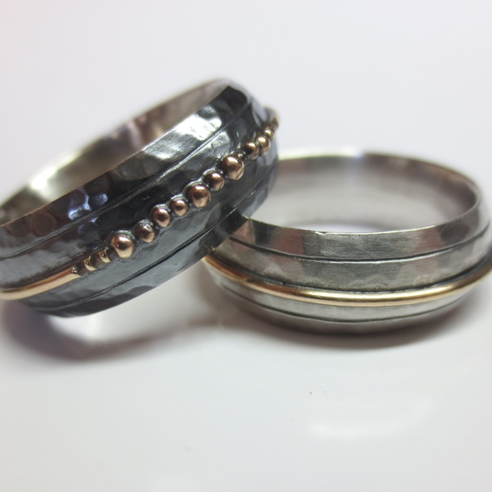 HJ_BESPOKE_'His and His' silver with 9ct gold detail and granulation beads