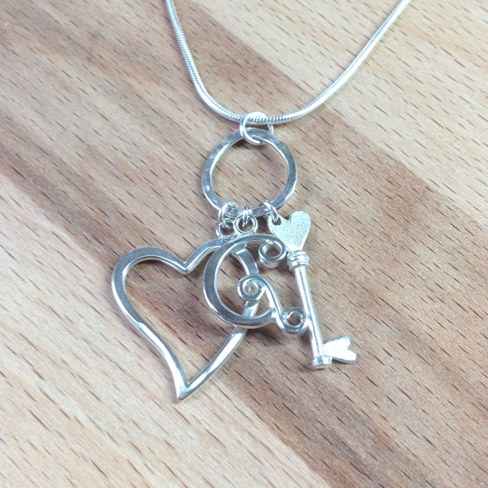 HJ_BESPOKE_Initial, Heart and Key Charm Pendant