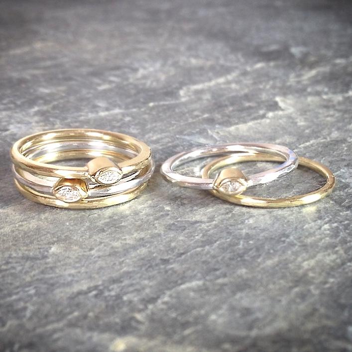 HJ_BESPOKE_Marquese Diamond Gold Stacking Rings1
