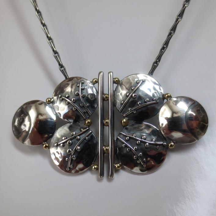 HJ_BESPOKE_Nurses buckle (shaped) and Trinidadian Flower inspired pendant for retired nurse 1
