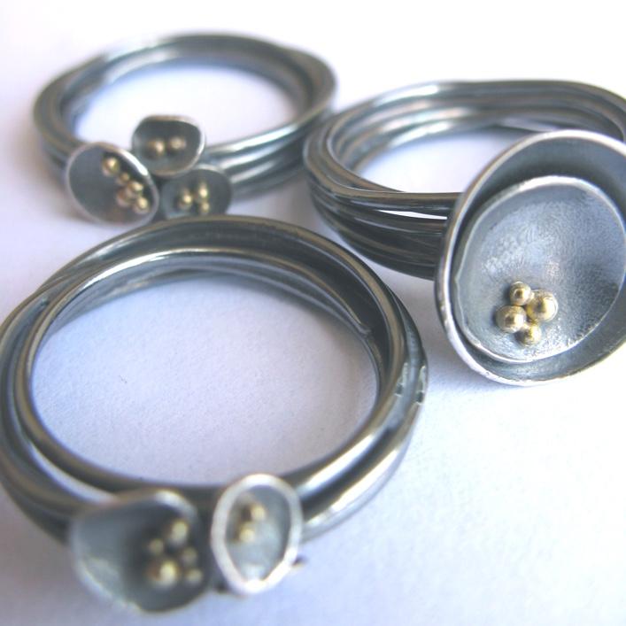 HJ_BESPOKE_Oxidised strand rings with 9ct granulation beads