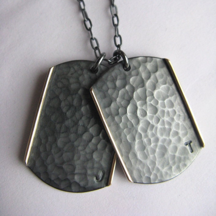 HJ_BESPOKE_Silver with 9ct Gold Strip Dogtags