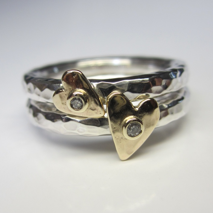 HJ_BESPOKE_Silver with 9ct gold and Diamond Hearts