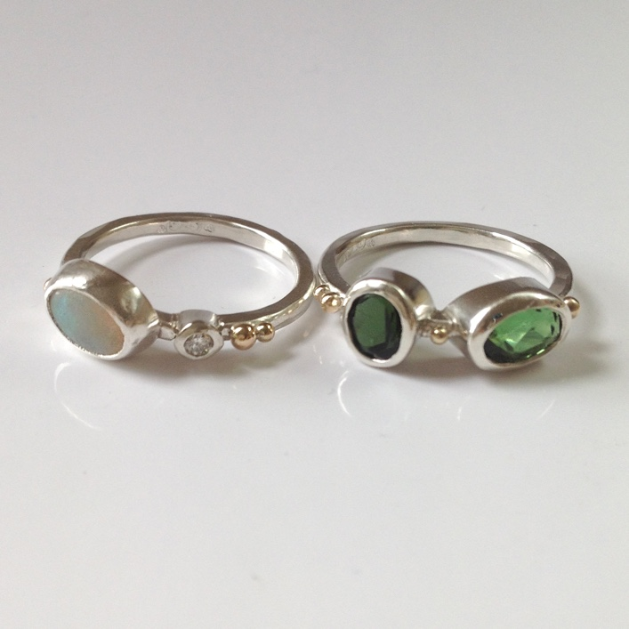 HJ_BESPOKE_Tourmaline, Opal and Granulation Stacking Rings3