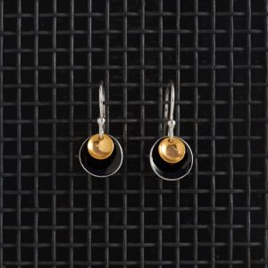 Earrings-Enamel Drop-Black-Small