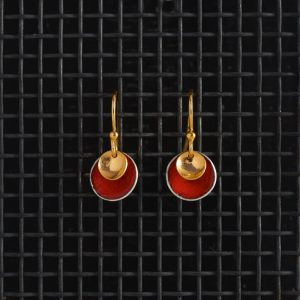 Earrings-Enamel Drop-Echutchan Red-Small