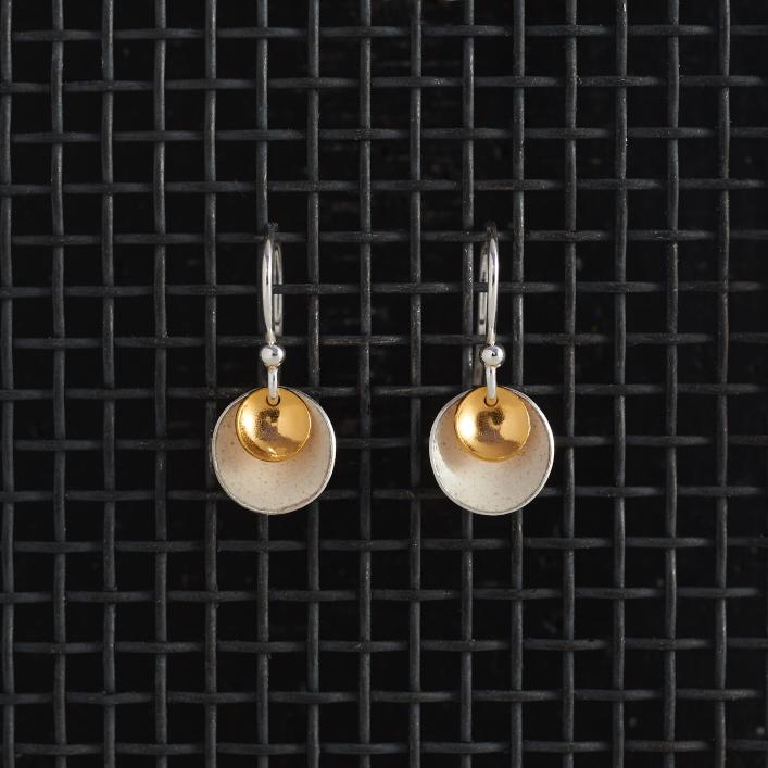 Earrings-Enamel Drop-Ivory-Small