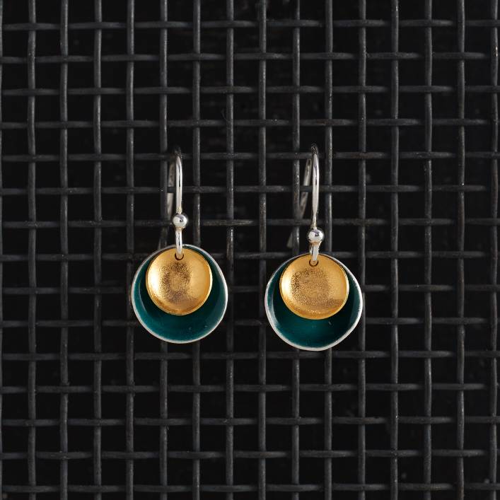 Earrings-Enamel Drop-Teal-Large