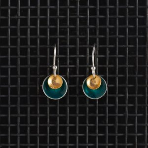 Earrings-Enamel Drop-Teal-Small