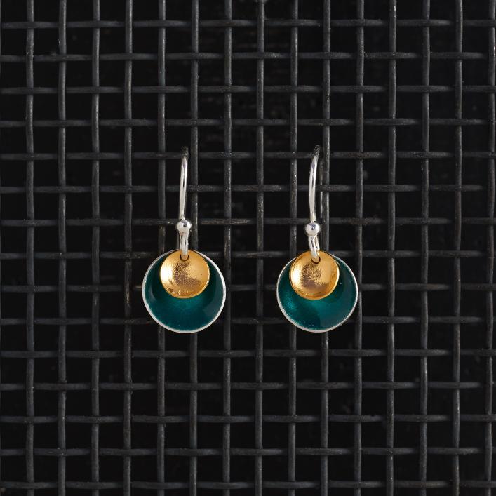 Earrings-Enamel Drop-Teal-Small