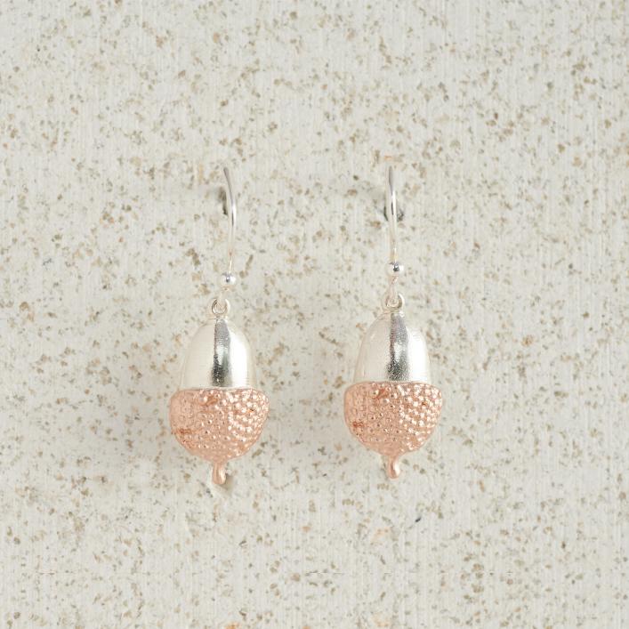 Earrings-Charm Drop-Acorn-Small-Rose