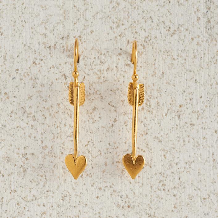 Earrings-Charm Drop-Arrow-Small-Gold