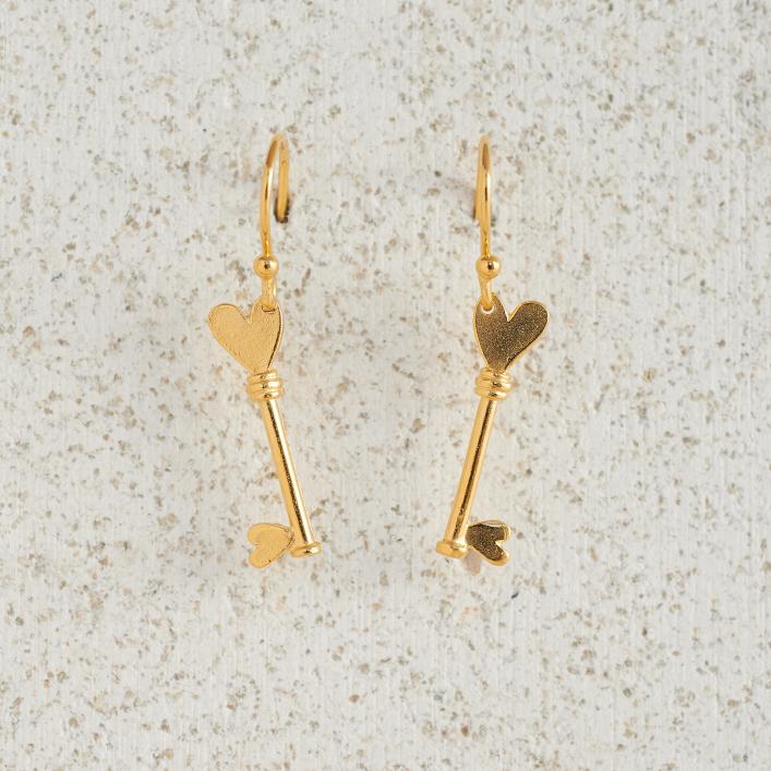 Earrings-Charm Drop-Key-Gold