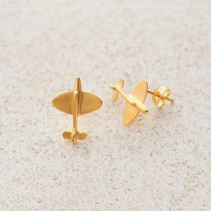 Earrings-Charm Stud-Spitfire-Gold