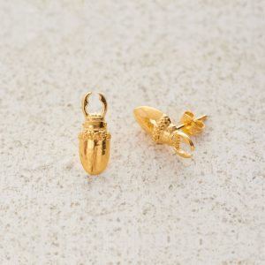 Earrings-Charm Stud-Stag-Gold