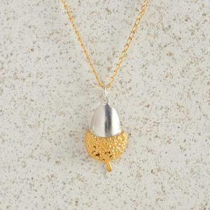 Necklaces-Charm Pendants-Acorn-Large-Gold