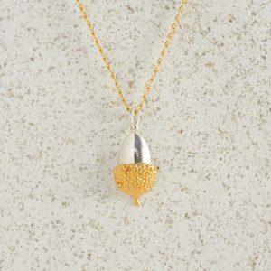 Necklaces-Charm Pendants-Acorn-Small-Gold