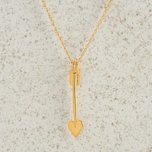 Necklaces-Charm Pendants-Arrow-Small-Gold