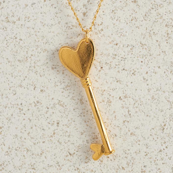 Necklaces-Charm Pendants-Key-Large-Gold