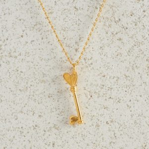 Necklaces-Charm Pendants-Key-Small-Gold