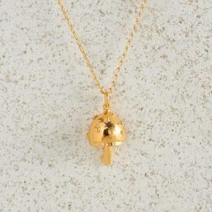 Necklaces-Charm Pendants-Mushroom-Gold