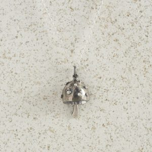 Necklaces-Charm Pendants-Mushroom-Silver