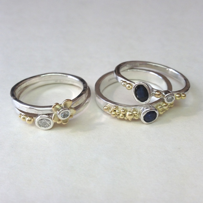 HJ_BESPOKE_Inherited Sapphire & Diamond Daisy Stack 5