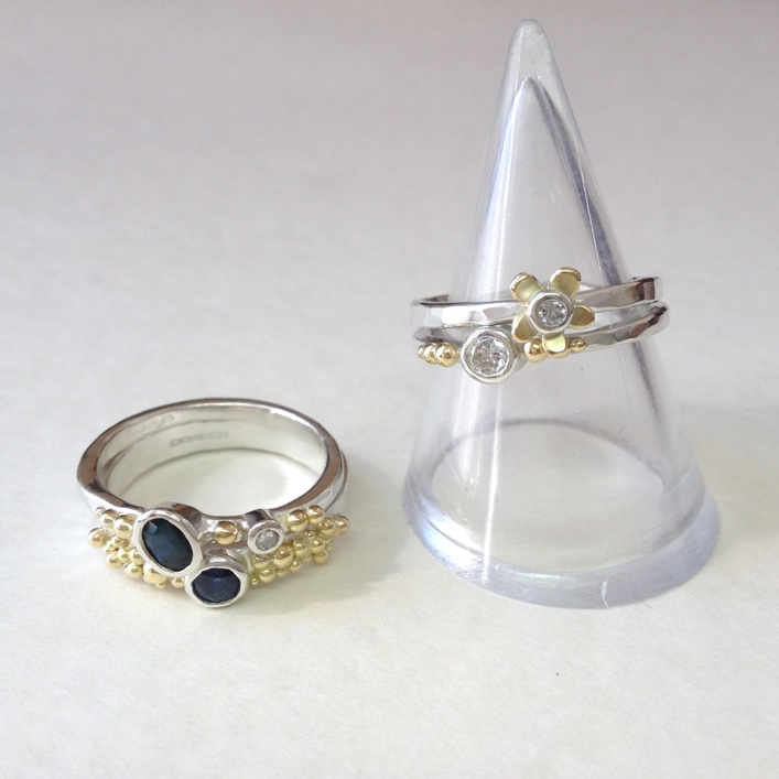 HJ_BESPOKE_Inherited Sapphire & Diamond Daisy Stack 5 copy