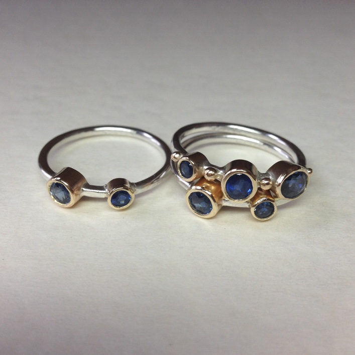 HJ_BESPOKE_Sapphires, Gold and Silver Stacking Bands 1