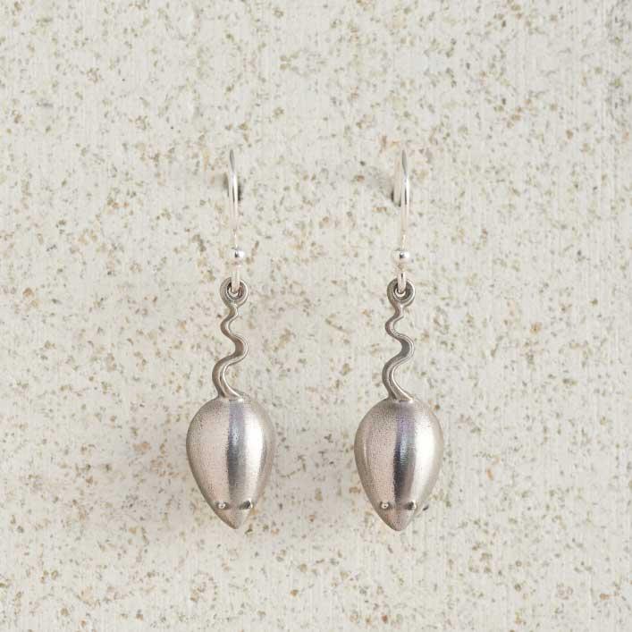 Earrings Charm Drop Mice Silver